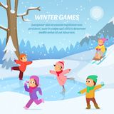 Kids playing in winter games on playground. Outdoors cartoon illustration Stock Photography