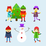 Kids playing winter games vector illustration. Royalty Free Stock Photography