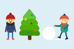 Kids playing winter games vector illustration. Stock Photos