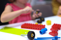 Kids Playing With Lego Royalty Free Stock Photography