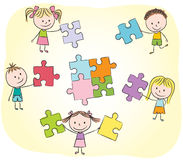 Kids Playing With Puzzle Royalty Free Stock Photos
