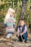 Kids Playing at the Woods While One is Crying Stock Photography