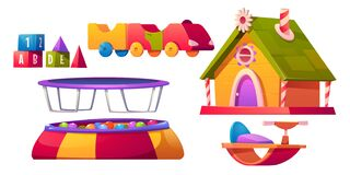 Free Kids Playroom Furniture And Equipment Set Isolated Royalty Free Stock Photo - 199053085