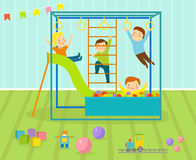 Kids playroom with light furniture decor playground and toys on the floor carpet decorating flat style cartoon Royalty Free Stock Photos
