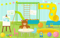 Kids playroom with light furniture decor playground and toys on the floor carpet decorating flat style cartoon. Comfortable interior vector illustration. Modern Stock Photo