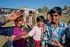 Kids plays on the courtyard of indian school Royalty Free Stock Photo