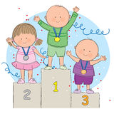 Kids on podium. Hand drawn picture of children on a podium. Illustrated in a loose style. Vector eps available Royalty Free Stock Photo