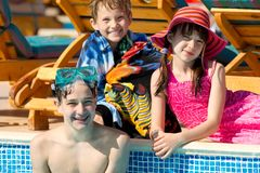 Kids at the pool Royalty Free Stock Images
