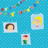 Kids portraits frames on the wall Royalty Free Stock Images
