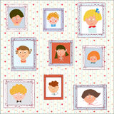 Kids portraits on the wall gallery Stock Image