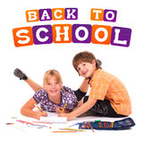 Kids posing for back to school theme. Over white background Stock Images