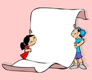 Kids with a poster. Two kids carrying a poster Royalty Free Stock Image