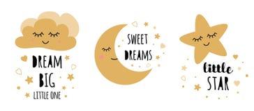 Kids posters set. Childish typography print room decoration Dream big Black gold Vector Illustration. Kids posters set Cute childish typography print cloud moon royalty free illustration