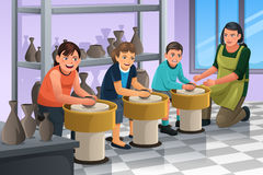 Kids in Pottery Class. A vector illustration of group of children shaping clay in pottery class Stock Photography