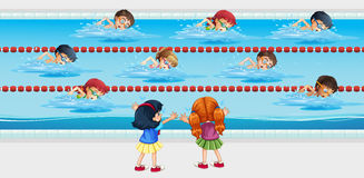 Kids practice swimming in the pool royalty free illustration