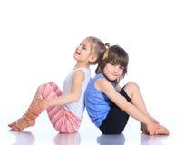 Kids practice yoga stock photo
