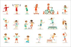 Kids Practicing Different Sports And Physical Activities In Physical Education Class Gym And Outdoors. Children Playing. Football, Table Tennis, Basketball And vector illustration