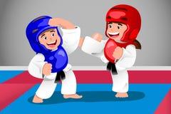 Kids practicing taekwondo stock illustration