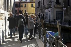 Kids in Prague. This photo was taken in Venice, Italy. Casual street life Royalty Free Stock Photos