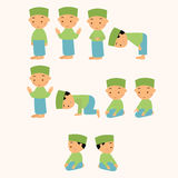 Kids pray praying shalat islam moslem  boy move Royalty Free Stock Photos