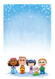 Kids praying. Five cute children from different part of the world praying together in a snowing Christmas day vector illustration