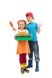 Kids prepared to plant the seedlings Stock Photo