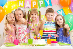 Kids preschoolers celebrate birthday party. Kids preschoolers celebrating birthday party Royalty Free Stock Photo