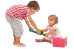 Kids with presents Royalty Free Stock Photography