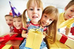 Kids with presents Stock Photography