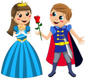 Kids Prince Princess Love Rose Isolated Stock Photography