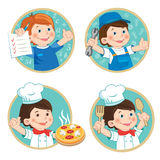 Kids Profession Education Cartoon Vector Set. School Boy Holding Up His Grades. Stock Photography