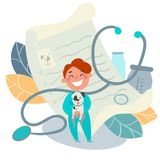 Kids profession. Pet doctor, veterinarian vector illustration
