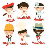 Kids professions. artist, athlete, doctor, engineer, cook, musician. Royalty Free Stock Photography