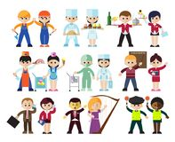 Kids Professions Characters Set Stock Photography