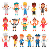 Kids And Professions Icons Set. With doctor teacher and policeman flat  vector illustration Stock Images