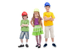 Kids with protective helmets posing stock photography