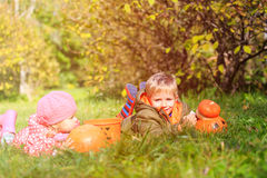Kids with pumpkin and halloween toys play at Stock Photography