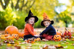 Kids with pumpkins in Halloween costumes Royalty Free Stock Photography