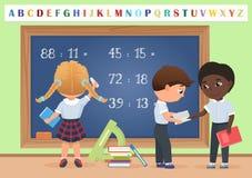 Kids pupils in classroom near school board chalkboard background vector illustration. Cartoon vector illustration. Royalty Free Stock Images