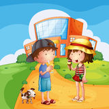 Kids and a puppy near the school. Illustration of kids and a puppy near the school Royalty Free Stock Photo