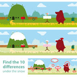 Kids puzzle with a bear walking home. Two versions of a vector illustration with 10 differences to be spotted in a kids puzzle with a little brown bear walking Stock Photo