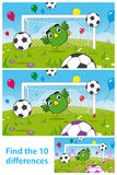 Kids puzzle with cute bird goalkeeper. Two versions of vector illustrations with 10 differences to be spotted in a brainteaser for children in a kids puzzle with Stock Photography