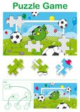 Kids puzzle with a cute bird soccer goalkeeper Stock Photos