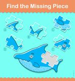 Kids puzzle game. Find the missing shark piece. Kids puzzle game. Find the missing piece of the shark - vector illustration Royalty Free Stock Images