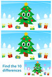 Kids puzzle with a happy Christmas tree. Kids spot the 10 differences vector puzzle with a happy Christmas tree surrounded by colorful gifts in a snowy winter Stock Photo