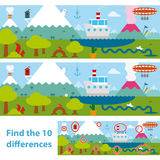 Kids puzzle of a lake and mountains difference. Two versions of a vector illustration of a lake with a boat, snow-capped mountains , an erupting volcano and a Royalty Free Stock Image