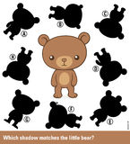 Kids puzzle - match the shadow to the cute bear Stock Photos