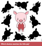 Kids puzzle - match the shadow to the cute pig Royalty Free Stock Photography