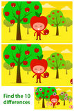 Kids puzzle printable with cute apples iin orchard Stock Images