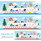 Kids puzzle ship to spot the 12 differences. Two vector versions of a kids puzzle of a colourful ship for them to spot the 12 differences between the Stock Photography